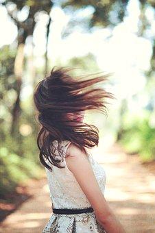 Girl, Hair, White, Dress, Female, Sunset