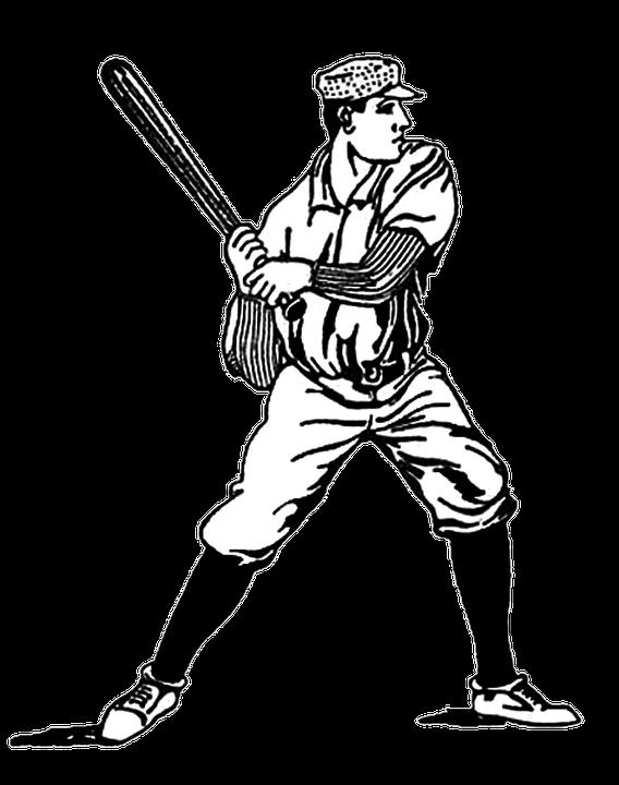 Baseball Vintage Drawing Bat Sport Uniform