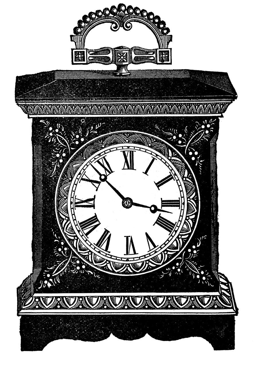 Добрым, старинные часы рисунок