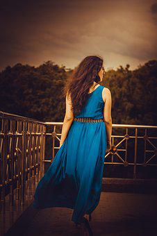 Girl In A Long Dress From The Back, Blue