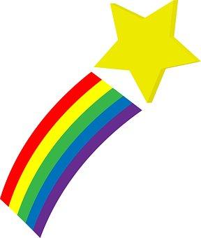 Sternschnuppe, Raum, Regenbogen, Stern