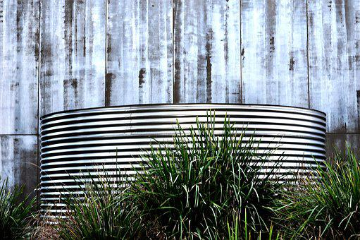 Water Tank Silver Blue Grass Stripes Water
