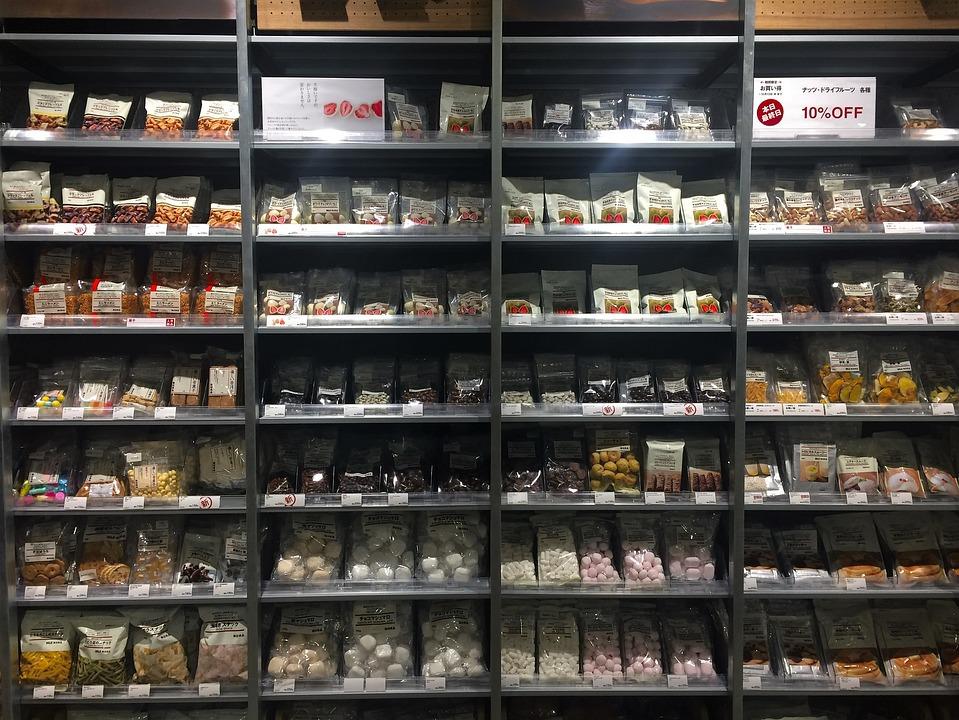無印良品, ドライフーズ, ナッツ, チョコレート, マシュマロ, お菓子, 食品, 陳列棚, リビン