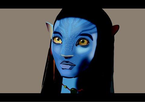 아바타, Neytiri, 푸른 문자, 외계, 문자, 영화, 환상적인
