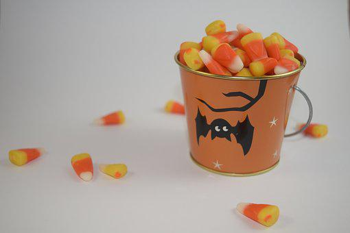 Candy Corn, Bucket, Candy, Halloween