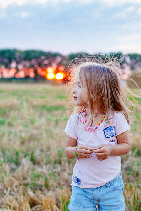 Sunset, Childhood, Joy, Good Luck, Baby, Girl