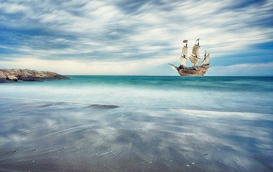帆船, 海岸, 海, 船, 海の, ビーチ, 砂浜, 海賊船, 船旅, 探検家