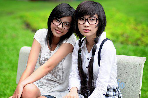 Girl, Student, Asian, Glasses, Friends