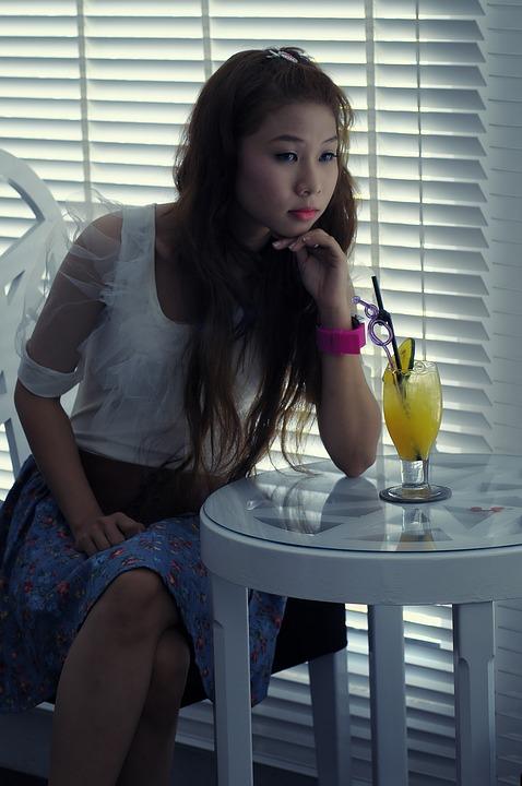 Meisje, Triest, Café, Verveeld, Mooi, Aziatische