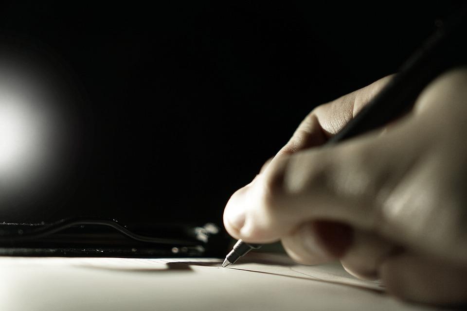 Caneta, Escrever, Papel, Placa De Bornes