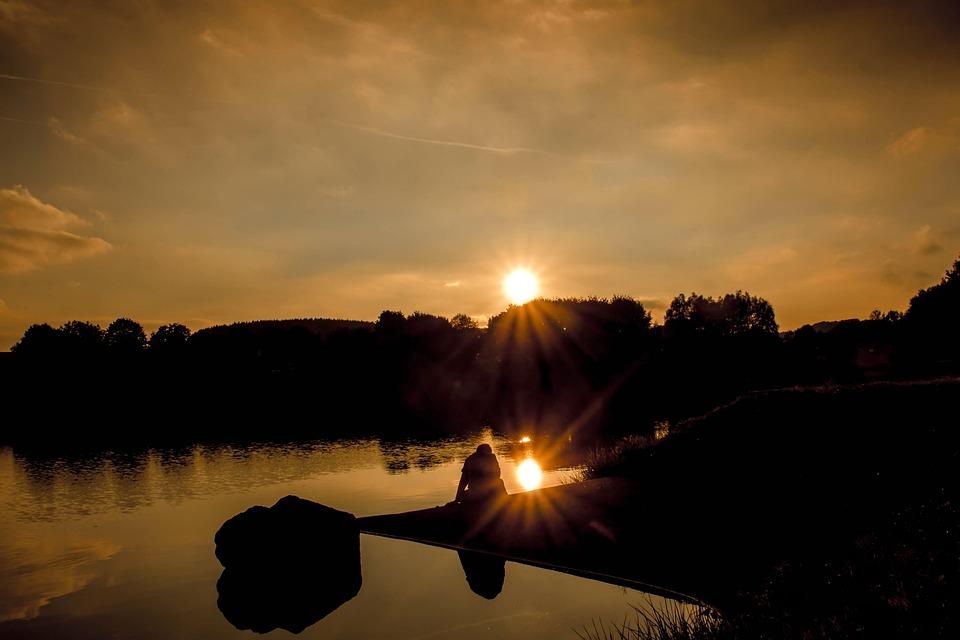 free photo sunset sun rays sunbeam lake free image