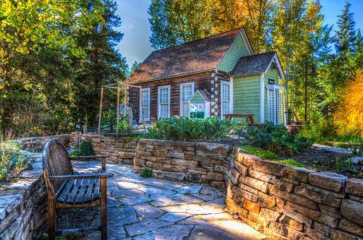 韦尔, 科罗拉多州, 森林, 房子, 结构, 长凳, 叶子, 自然, 美国