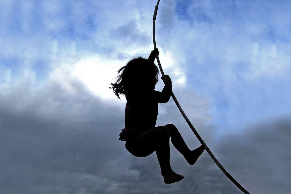 Child, Climbing, Mowgli, Trampoline, Cloudy, Sky