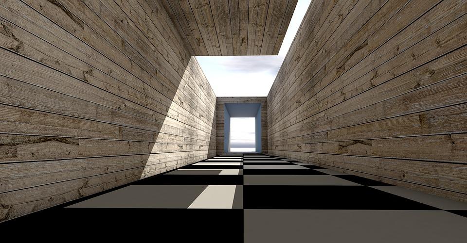 廊下, 木製の壁, アーキテクチャ, 通路, トンネル, 木目, 構造, 木造建造物, 木製ボード, 壁板