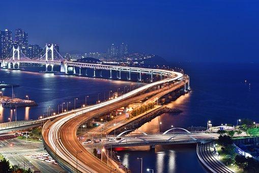Busan Night Scene, Bridge, Busan, Night