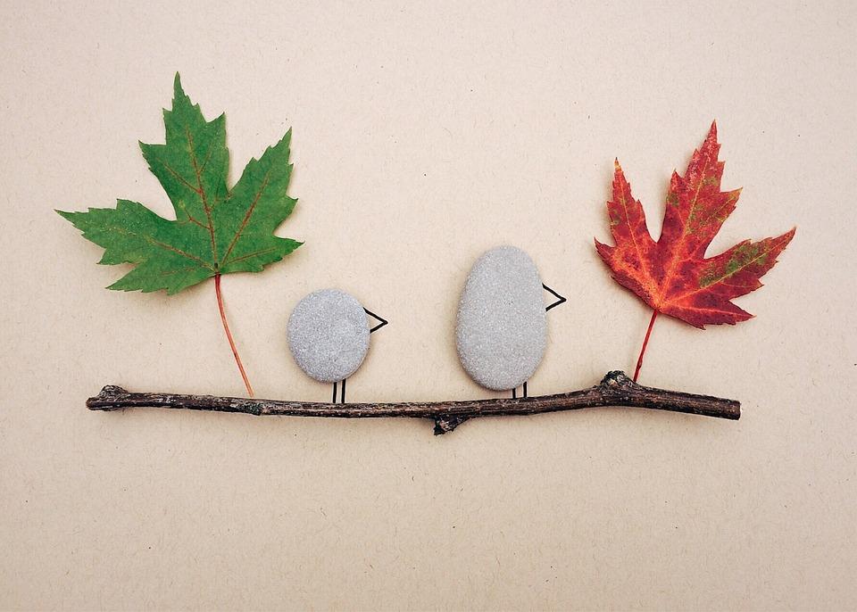 Fall, Leaves, Rock Art, Craft, Autumn