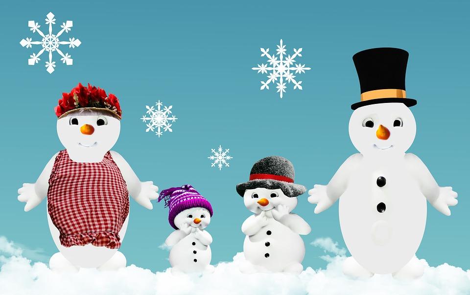 free illustration winter snow man family free image on