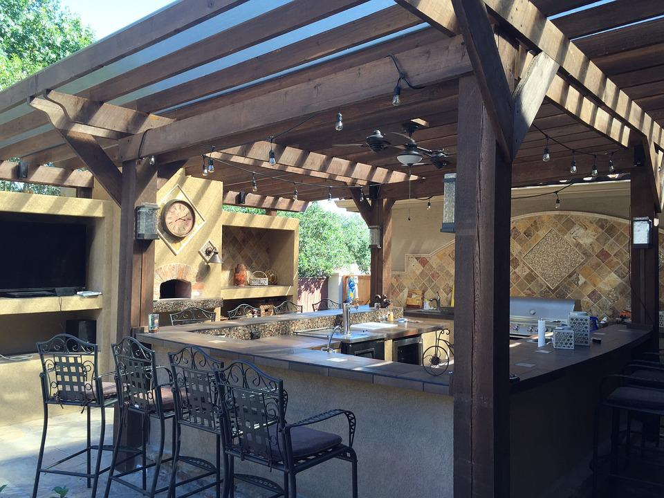 Patio Cover Outdoor Kitchen Tile Copper Patio