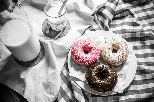 Food Donuts Milk Table Color Pop Blac