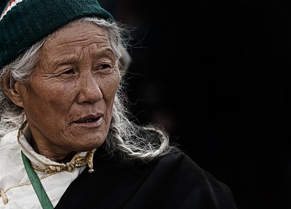 Vrouw, Ouderen, Tibet, Nepal, Portret, Gezicht