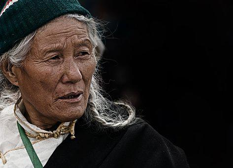 Woman, Elderly, Tibet, Nepal, Portrait