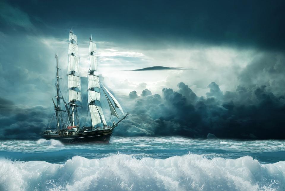Schiff, Boot, Ozean, Sturm, Segel, Abenteuer, Öl