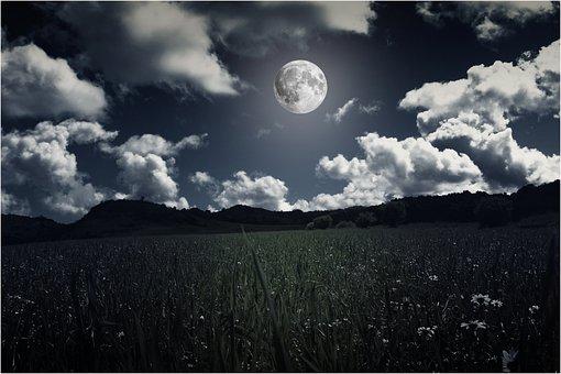 Paysages, Lune, Nuit, Pleine Lune, Ciel