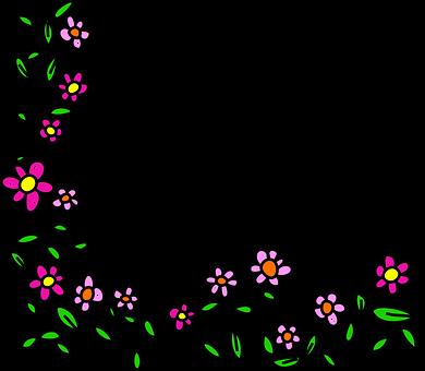 Flowers Doodle Whimsical Cartoon Border Fr