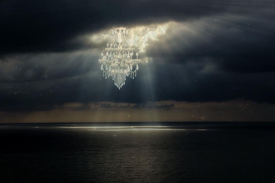 faisceau lumineux dans le ciel
