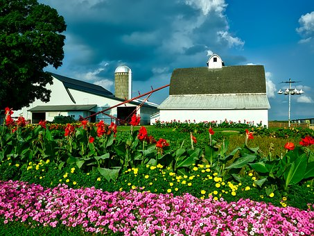 Iowa, Farm, Barn, Silo, Auger, Sky