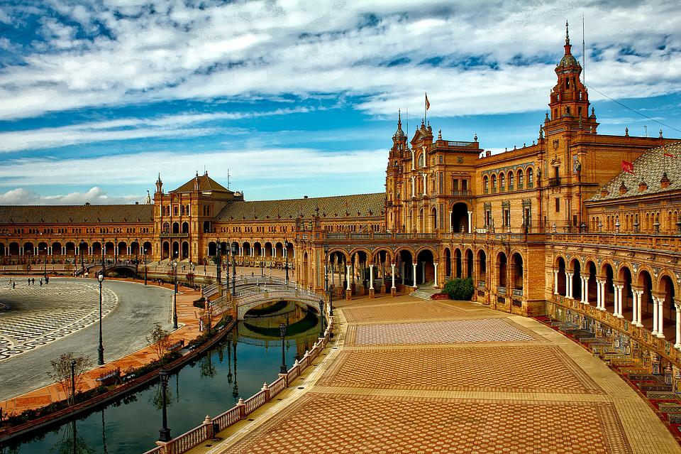 Plaza Espana, Sewilla, Hiszpania, City, Miejskich