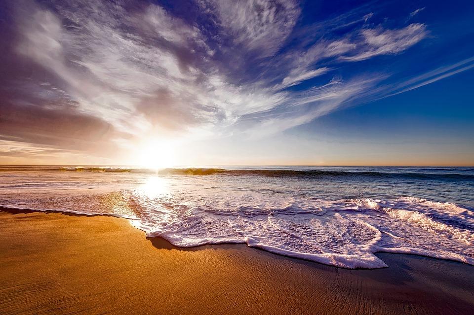 Praia, Mar, Pôr Do Sol, Sol, Luz Solar, Areia, Costa