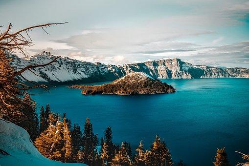 Crater Lake, Oregon, Mountains, Winter