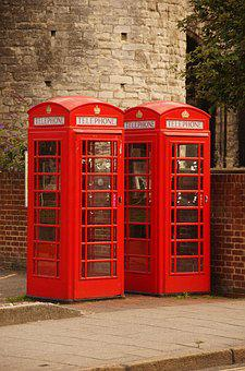 Telephone, Booth, Red, Retro, Britain