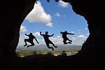 shadow, jump, friendship