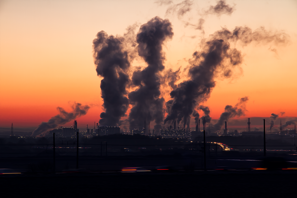 Industry, Sunset, Pollution, Dusk, Twilight, Smoke