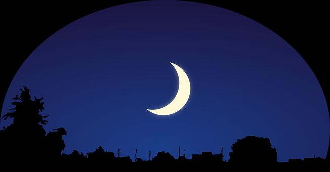Himmel, Mond, Silhouette, Nacht