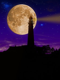 Lighthouse, Night, Tower, Illuminated