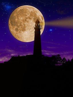 Lighthouse, Night, Tower, Illuminated