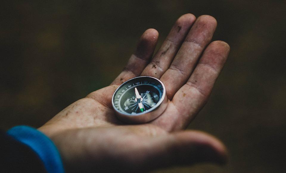 Kompass, Hand, Reisen, Richtung, Wandern, Der Weg