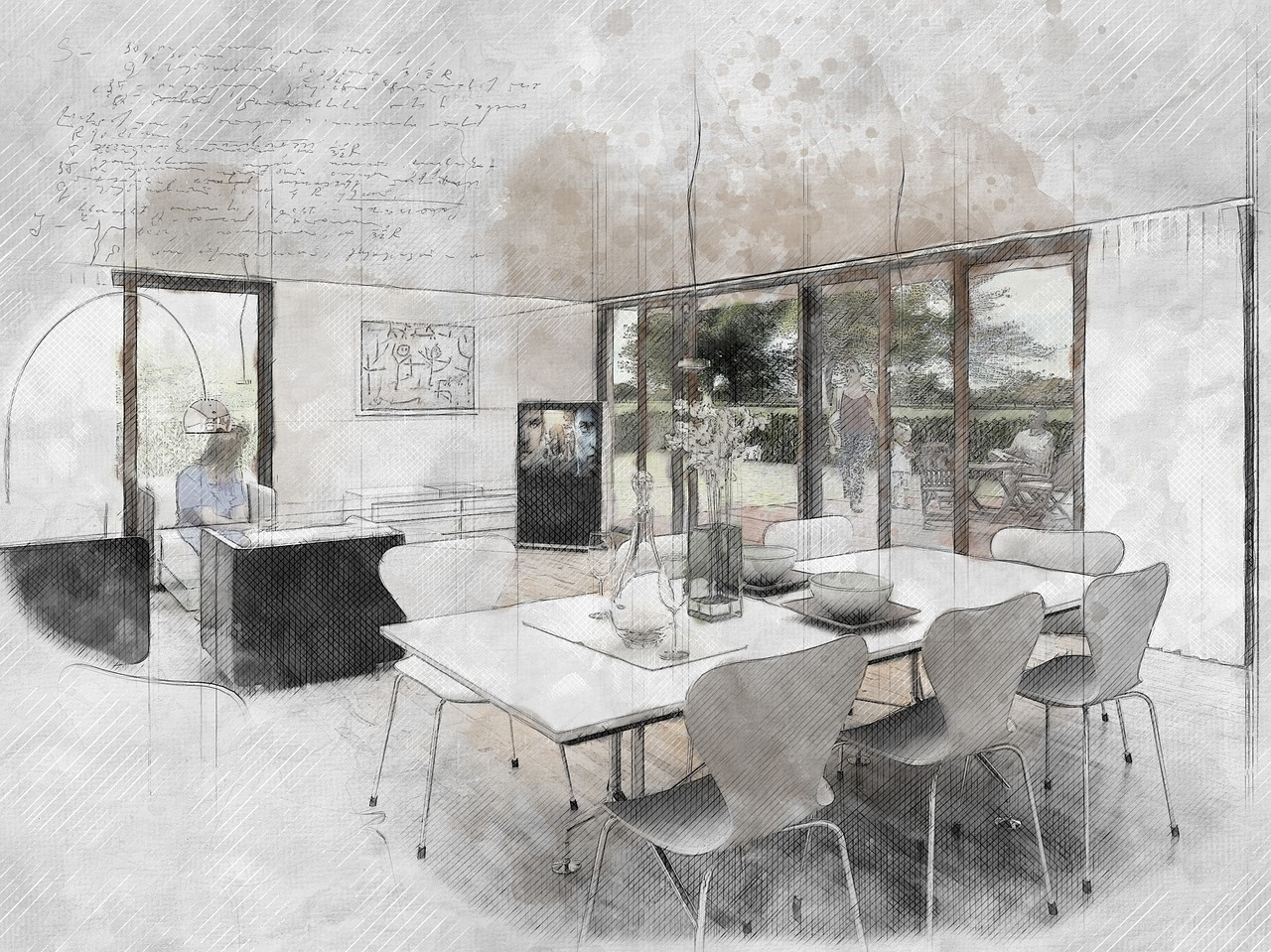 Interior, Sketch, Design, Drawing, Home