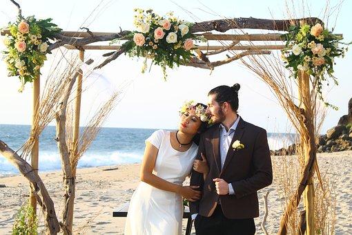 Wedding, Beach, Couple, Love, Romance
