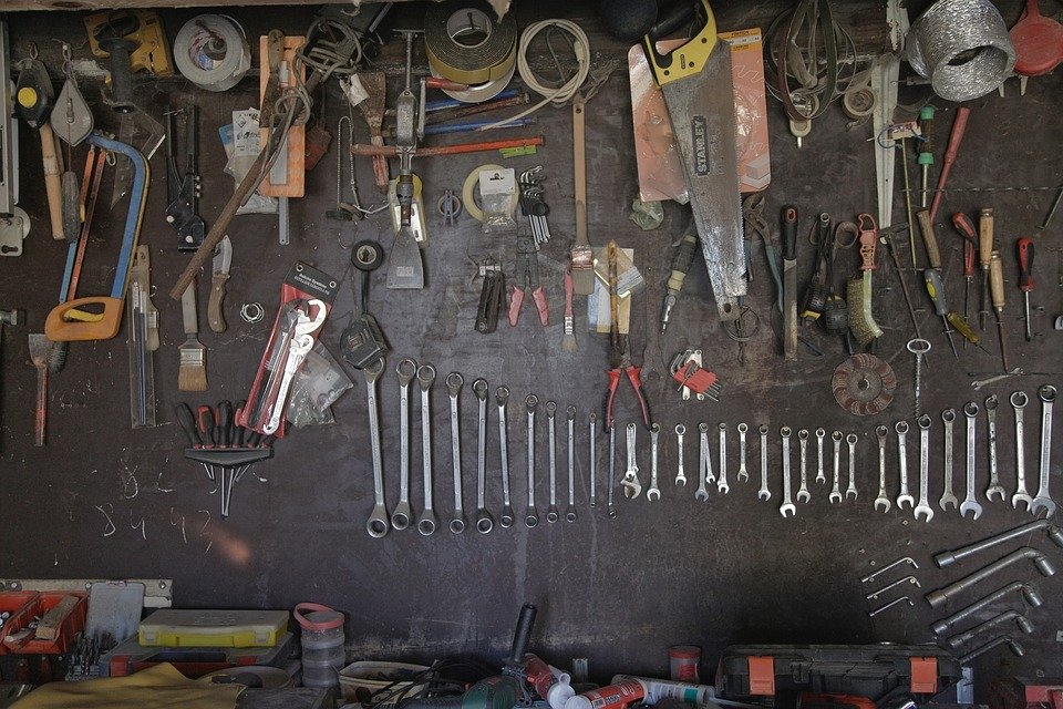 free photo  tools  tool wall  workshop  old