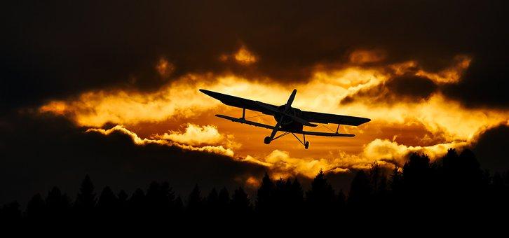 Aircraft, Flight, Sunset, Clouds