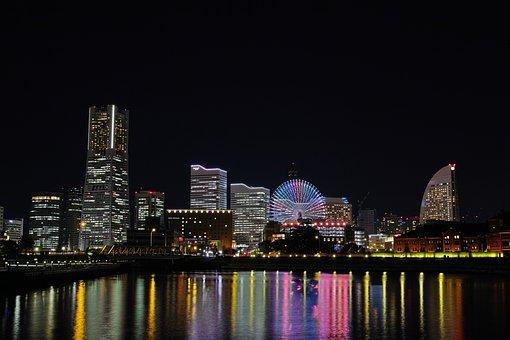 夜景, 街, 光, 海, 夜, 横浜, 建物, ベイサイド, 観覧車, 横浜