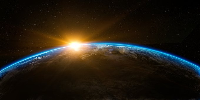 Sunrise, Space, Outer, Globe, World