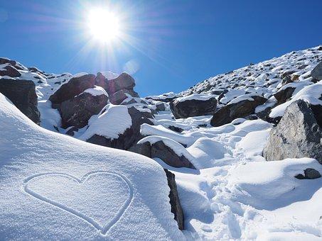 Sun, Sníh, Srdce, Herzchen, Kameny, Hory