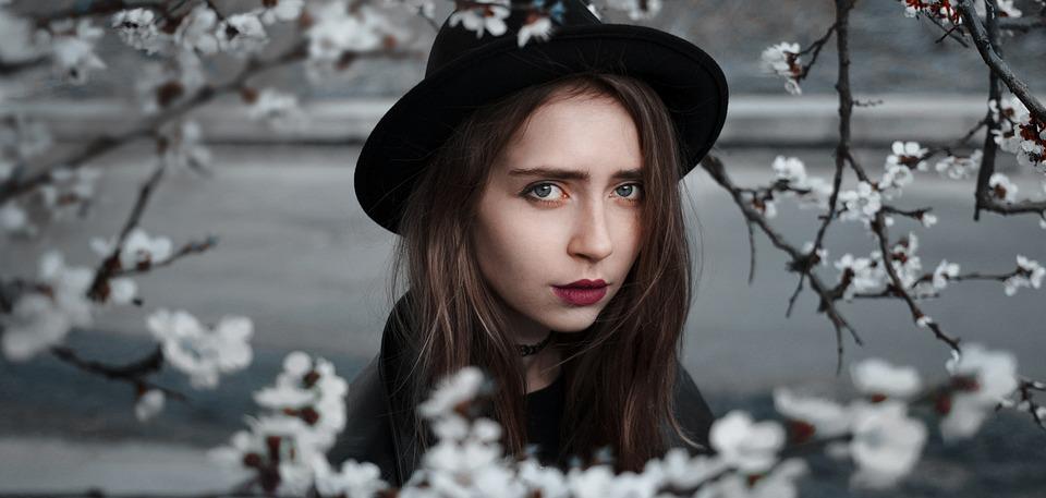 女の子, 花, モデル, 肖像画, 春, 帽子, 若さ, デスクトップ, バック グラウンド, 姿勢, 男