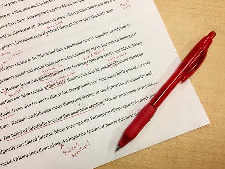 ミス, 編集, 学校, 赤インク, 訂正, 初稿, 先生, 赤ペン, マーク