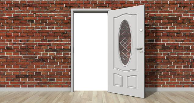 ドア, オープン, 壁, オープンドア, ホーム, インテリア, 家, 希望